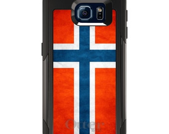 OtterBox Commuter for Galaxy S4 / S5 / S6 / S7 / S8 / S8+ / Note 4 5 8 - CUSTOM Monogram - Any Colors - Norway Old Flag