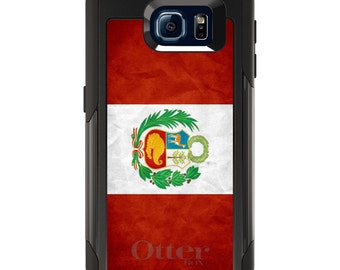 OtterBox Commuter for Galaxy S4 / S5 / S6 / S7 / S8 / S8+ / Note 4 5 8 - CUSTOM Monogram - Any Colors - Peru Old Flag