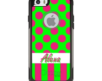 OtterBox Commuter for Apple iPhone 5S SE 5C 6 6S 7 8 PLUS X 10 - Custom Monogram or Image - Pink Green Polka Dot Stripes