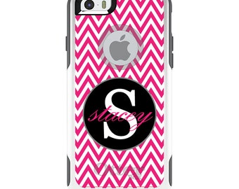 OtterBox Commuter for Apple iPhone 5S SE 5C 6 6S 7 8 PLUS X 10 - Custom Monogram or Image - Hot Pink White Chevron Gray