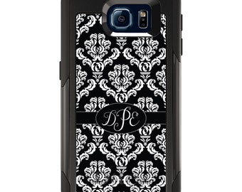 OtterBox Commuter for Galaxy S4 / S5 / S6 / S7 / S8 / S8+ / Note 4 5 8 - CUSTOM Monogram Name Initials - Black Oval Damask Ribbon