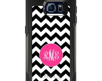 OtterBox Commuter for Galaxy S4 / S5 / S6 / S7 / S8 / S8+ / Note 4 5 8 - CUSTOM Monogram Name Initials - Black White Pink Chevron Stripes