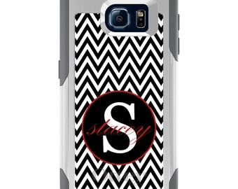 OtterBox Commuter for Galaxy S4 / S5 / S6 / S7 / S8 / S8+ / Note 4 5 8 - CUSTOM Monogram Name Initials - Black White Chevron Red
