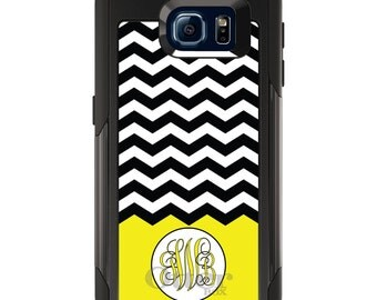 OtterBox Commuter for Galaxy S4 / S5 / S6 / S7 / S8 / S8+ / Note 4 5 8 - CUSTOM Monogram Name Initials - Black White Chevron Yellow Initials