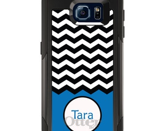 OtterBox Commuter for Galaxy S4 / S5 / S6 / S7 / S8 / S8+ / Note 4 5 8 - CUSTOM Monogram Name Initials - Black White Chevron Blue Name