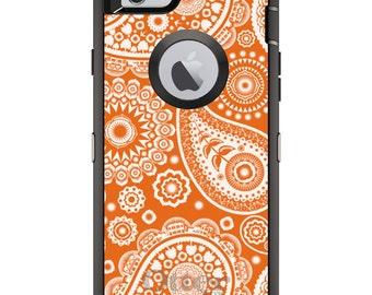 CUSTOM OtterBox Defender Case for Apple iPhone 6 6S 7 8 PLUS X 10 - Personalized Monogram - Orange White Paisley