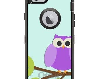 CUSTOM OtterBox Defender Case for Apple iPhone 6 6S 7 8 PLUS X 10 - Personalized Monogram - Purple Owl Cartoon