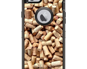 CUSTOM OtterBox Defender Case for Apple iPhone 6 6S 7 8 PLUS X 10 - Personalized Monogram - Wine Corks