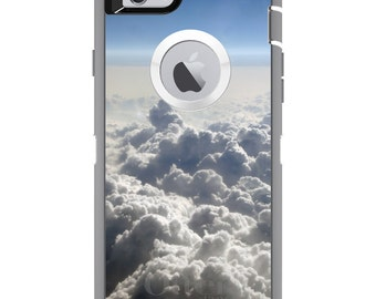 CUSTOM OtterBox Defender Case for Apple iPhone 6 6S 7 8 PLUS X 10 - Personalized Monogram - Blue Sky Above Clouds