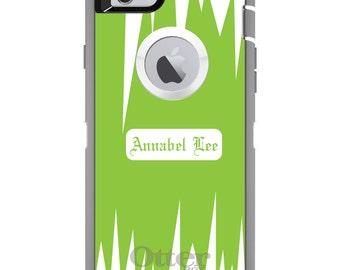 CUSTOM OtterBox Defender Case for Apple iPhone 6 6S 7 8 PLUS X 10 - Personalized Monogram - Light Green White Spikes Zig Zag
