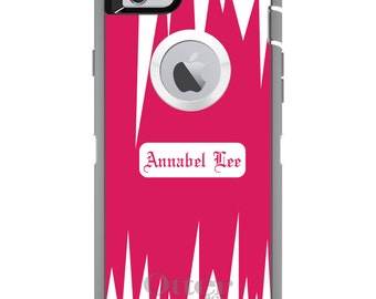 CUSTOM OtterBox Defender Case for Apple iPhone 6 6S 7 8 PLUS X 10 - Personalized Monogram - Hot Pink White Spikes Zig Zag