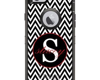 CUSTOM OtterBox Defender Case for Apple iPhone 6 6S 7 8 PLUS X 10 - Personalized Monogram - Black White Chevron Red