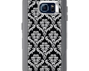 Custom OtterBox Defender for Galaxy S5 S6 S7 S8 S8+ Note 5 8 Any Color / Font - Black White Damask Pattern