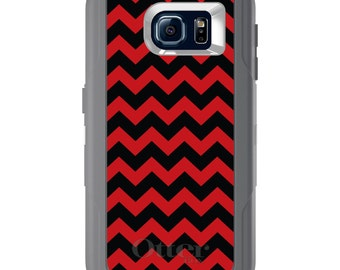 Custom OtterBox Defender for Galaxy S5 S6 S7 S8 S8+ Note 5 8 Any Color / Font - Black Red Chevron Stripes