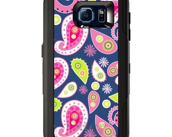 Custom OtterBox Defender for Galaxy S5 S6 S7 S8 S8+ Note 5 8 Any Color / Font - Pink Green Navy Paisley