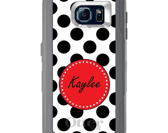 Custom OtterBox Defender for Galaxy S5 S6 S7 S8 S8+ Note 5 8 Any Color / Font - Black Rose White Polka Dots
