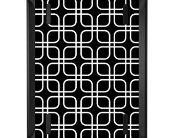 Custom OtterBox Defender for Apple iPad 2 3 4 / Air 1 2 / Mini 1 2 3 4 - CUSTOM Monogram - Black White Square Pattern Geometric