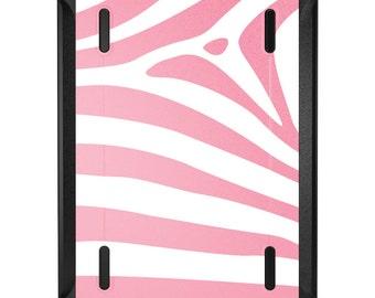 Custom OtterBox Defender for Apple iPad 2 3 4 / Air 1 2 / Mini 1 2 3 4 - CUSTOM Monogram - Pink & White Zebra Skin Stripes