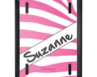 Custom OtterBox Defender for Apple iPad 2 3 4 / Air 1 2 / Mini 1 2 3 4 - CUSTOM Monogram - Pink White Grey Zebra Skin Stripes