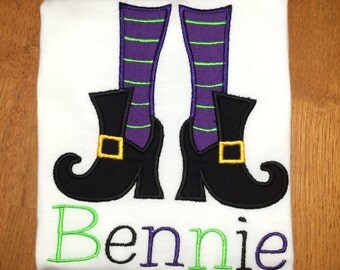 Personalized Witch Boots Shirt, Onesie, Romper or Dress