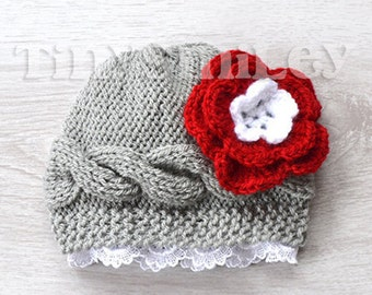 Gray Baby Girl Hat, Knit Baby Girl Hat, Cable Baby Girl Hat, Newborn Girl Hat, Lace Flower Baby Hat, Knit Newborn Beanie Hat, Baby Shower