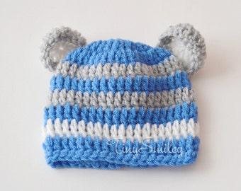 Newborn Bear Hat, Chunky Bear Hat, Blue White Gray Bear Hat, Photo Prop, Baby Boy Hats, Animal Baby Hat, Teddy Bear Hat, Baby Hat With Ears