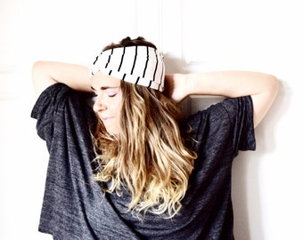 Headband turban, yoga clothes, teen girl gift, gift idea, mom gift -black white jersey soft stretchy, ready to ship, eco friendly