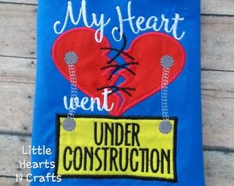 CHD shirt My Heart WENT Under Construction CHD Embroidered shirt
