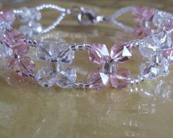 Pink Crystal flower bracelet