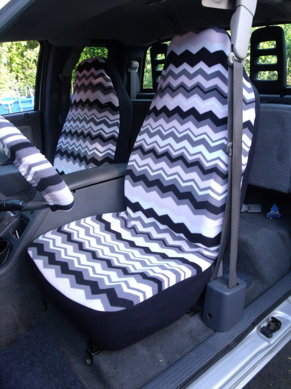 1 Set of Light Pink/Black Chevron Print and Steering Wheel Cover Custom Made.