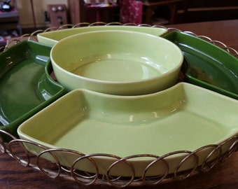 MCM Mid Century Modern Green Lazy Susan on wire turn table