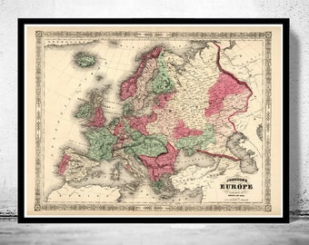 Old Map of Europe 1864