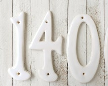 Numbers, Ceramic Handmade, House Numbers, Wall Plaque, Classic White, Outdoor, Housewarming Gift, Table Numbers