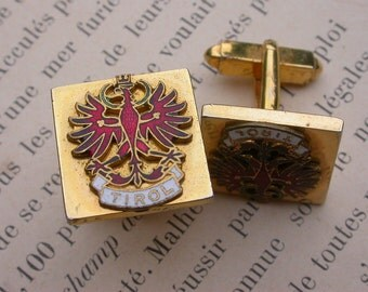 French vintage gold military red enamel sleeve button Cuff Links red eagles army military cuff links pair gold button