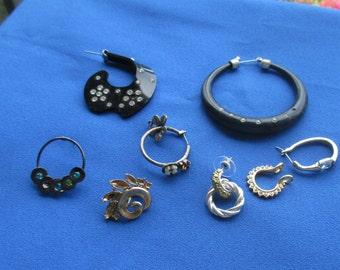 Lot Of Vintage Single Odd Earrings Most With Rhinestones