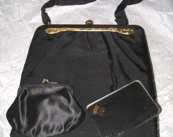 Vintage LEWIS Black Peau de Soie Silk Gold Jeweled Trim Evening Bag Purse with Original Accessories!