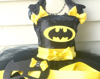 Inspired by Batman Inspired Tutu Dress/Costume/Halloween/Dress/Pageant Wear/Mask/Infant/Toddler/Girl