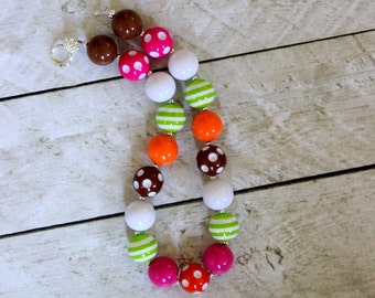 girls bubblegum necklace girl chunky bubblegum bead necklace orange hot pink lime green orange brown necklace fall  birthday necklace