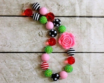 Valentines Day bubblegum necklace Girls chunky bead necklace Pink red lime green black birthday necklace Girl Christmas Watermelon party