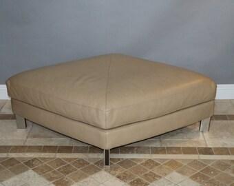 Natuzzi Italian Leather Ottoman Bench Large Diamond Shape