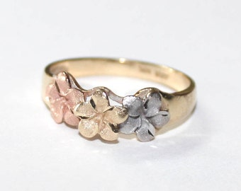 Hawaiian Plumeria Ring 14k tri-color gold - 6.25 size - sku 6226