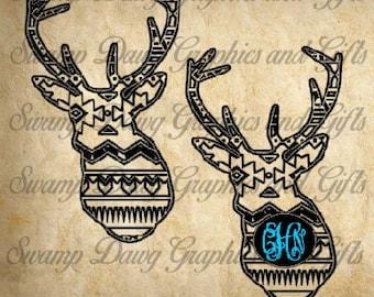 Aztec Deer Monogram cut file, monogram, silhouette, cricut, svg, decal,