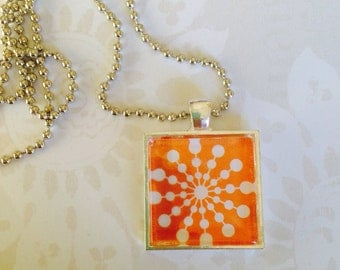 Orange Sunburst Glass Tile Pendant Necklace
