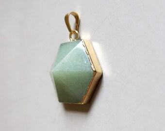 Aventurine Quartz Hexagon Pendant with Golden Edge - B1265