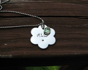 Personalized Necklace for Little Girls- Flower Necklace- Birthstone Necklace- Stamped Necklace- Toddler Necklace- Daughter Necklace- Name