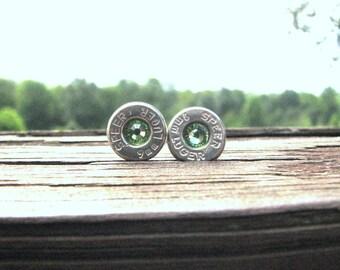 Bullet Earrings- 9mm Luger Earrings- August Birthstone Earrings- Country Western- Ammo Earrings- Eco Friendly- Stud Earrings- Bullet Jewelry