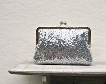 Silver sequin clutch, silver purse, great gatsby wedding, bridal clutch, sequin purse, bridesmaid gift, bridesmaid clutch, 1920s wedding
