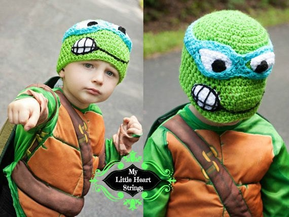 Free Crochet Pattern For Ninja Turtle Hat With Mask : Teenage Mutant Nina Turtles TMNT tmnt by MyLittleHeartStrings