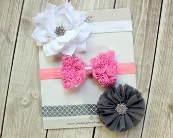 Set of 3 Baby Headbands -  Pink headband, Gray headband, White headband - Newborn Headband - Baby Shower Gift - Infant Headband