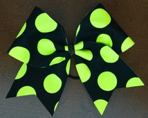 Cheer Bow - Black with Neon Polka Dots